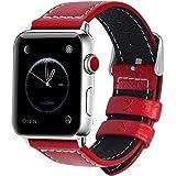 HERMES 時計 全7色 Apple Watch バンド ベルト アップルウォッチバンド38mm 42mm Fullmosa apple watch series1 2 3 バンド 本革レザー 交換バンド ラグ付き レッド 42mm