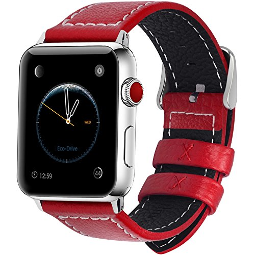 全7色 Apple Watch バンド ベルト, Fullmosa Apple Watch Series 1 2 3 バンド 本革レザー ベルト交換用ラグ付き アップルウォッチバンド レッド 42mm