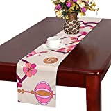 LKCDNG テーブルランナー 美しい 和風の桜 クロス 食卓カバー 麻綿製 欧米 おしゃれ 16 Inch X 72 Inch (40cm X 182cm) キッチン ダイニング ホーム デコレーション モダン リビング 洗える