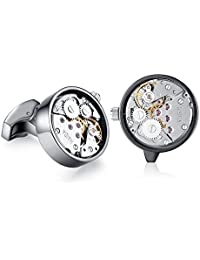 Honey Bear Cufflinks for Mens - Working Watch Movement Wedding Business Gift with Box (Silver/Black/Gold)