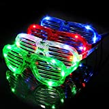 M.best Unisex Fashion Plastic Glow LED Light Up Shades Toy Glasses for Christmas Halloween Wild Clubbing Birthday Party Favors Supplies Set of 4