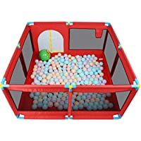 フェンスの子供の遊びフェンスの幼児の幼児のクロールマットフェンスのプレイフェンス (Color : Red, Size : 128 * 128 * 66cm)
