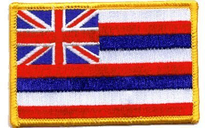 """The Flag of HAWAII PATCH, Superior Quality Iron-On / Saw-On Embroidered Patch - Each one is individually carded and sealed in a professional retail package - 3.5"""" x 2.25"""" Inches - Made in the USA"""