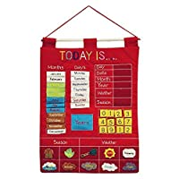 Today Is Children's Calendar Wall Chart by Alma's Design - Red [Floral] [並行輸入品]
