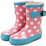 (セレブル) Celeble キッズ ジュニア レインブーツ 子供靴 男女兼用 長靴 雨靴 ドット×ピンク 22.0