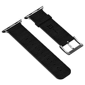 JETech Design Apple Watch バンド 42mm 本革 メタルクラスプ (42mm, 黒)