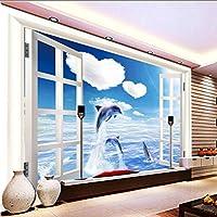 Lixiaoer 写真の壁紙3Dウィンドウ風景海イルカテレビ壁画壁画壁紙カスタムリビングルームベッドルームスタジオロビー壁画-280X200Cm