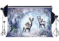 RBabyPhoto シカ 鹿の背景 9×6フィート おとぎ話 不思議な湖 魔法の森の木 ファンタジー 風景 写真撮影 背景 女の子用 紙写真スタジオ小道具 ビニール CK264
