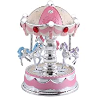 ミュージックボックス カルーセルミュージックボックス ホースオルゴール ミュージックギフト完璧な誕生日、子供用クリスマスギフト(1)