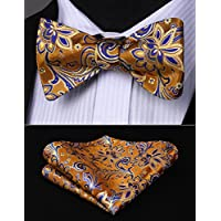 HISDERN Mens Silk Bow Ties for Wedding Party Prom Luxury Flower Printed Bowtie + Handkerchief Set Fashion Self-Tied Bowties for Present