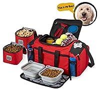 Overland Dog Gear 犬トラベルバッグアルティメット・ウィークはアウェイメッドについてはダッフルと大型犬はバッグ、2裏地食品キャリア、プレイスマット、そして2つの折りたたみボウルが含まれています