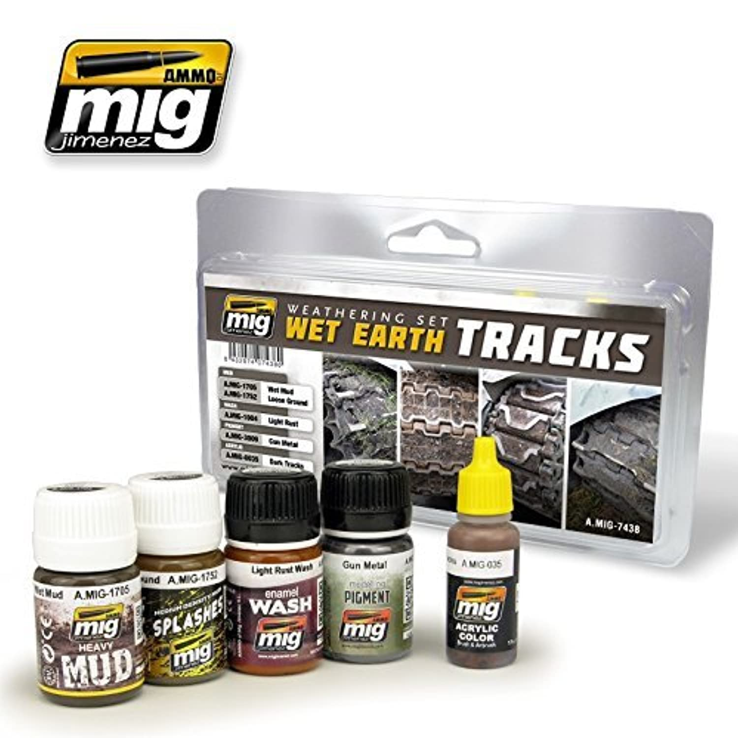 AmmoのMig Jimenez Weathering Set for Wet Earthトラック5 Jars # 7438
