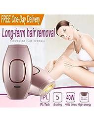 女性男性のためのIPL脱毛システムライト脱毛器、400000体、顔、脚、脇の下、ビキニラインに美容機器を点滅(ピンク)