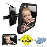 COOODI 車 ベビーミラー ルームミラー インサイトミラー カーミラ 曲面鏡 ガラス飛散防止 安全 後部座席ベビーシート監視 子供の様子が確認 補助ミラー 吸盤&クリップ付 360度角度・方向調節可能 (ブラック)