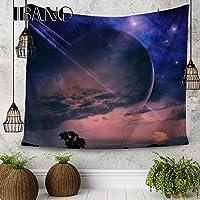 ZHQJP ハンギング布の背景タペストリーテーブルクロス星空風景シリーズルームのベッドルームの装飾 (Color : パープル)