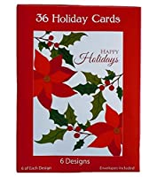 36 Glossy Christmas Holiday Cards Including 6 Different Patterns - Tree Stocking Poinsettia Wreath (36 Cards) [並行輸入品]