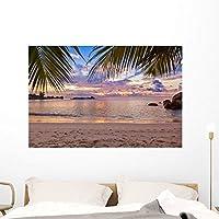 Wallmonkeys Seychelles Tropical Beach Sunset Wall Mural Peel and Stick Graphic (48 in W x 32 in H) WM259494 [並行輸入品]