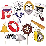 Miraclekoo Nauticalパーティー写真ブース小道具Navy Anchor Sailor写真ブース小道具キット、20カウント