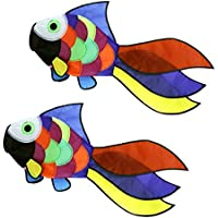 MagiDeal 2pcs Rainbow Fish Kite Windsockアウトドア庭公園装飾Kids Line Laundryキットおもちゃ