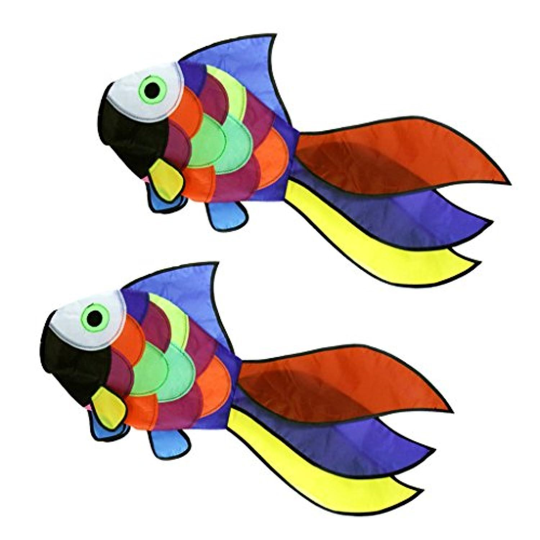 MagiDeal 2pcs Rainbow Fish Kite Windsockアウトドア庭公園装飾Kids Line Laundryキットおもちゃ