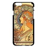 iPhone6/6s 4.7インチ ケース カバー 西洋名画 アルフォンス・ミュシャ 黄道十二宮/ブラック