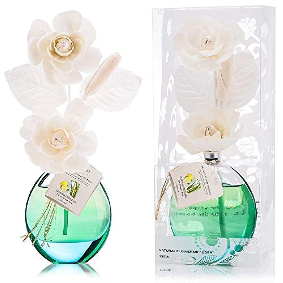 誕生日 プレゼント に A03 ルームフレグランス (花瓶:緑色、香り:レモン&レモングラス)