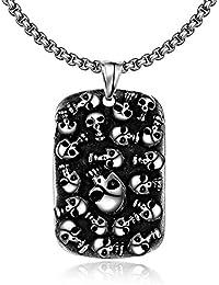 EyeDow Kingdom マルチ頭蓋骨チタンステンレス鋼のペンダントネックレスの男性の頭蓋骨60CM