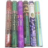 Hem Assorted Best Sellers Incense Sticks Pack of 6-120 Sticks, Fragrance - Lemongrass, Lavender, Egyptian Jasmine, Ambar Sand