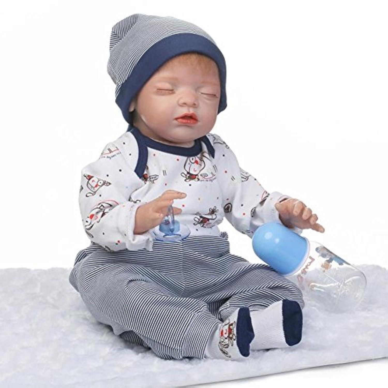 Dollshow Lifelike人形RebornベビーSleeping少年解剖学的に正しいシリコン磁気口22インチ55 cm