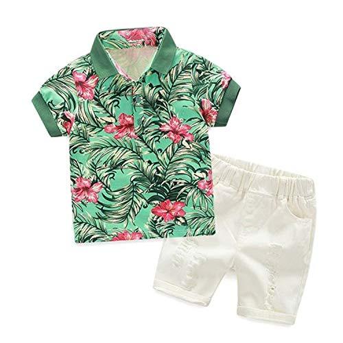 HUMMIJA Kids Boys' Hawaiian T-Shirt and Ripped Shorts Clothing Sets (4-5T, Green)