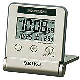 SEIKO CLOCK (セイコークロック) 目覚まし時計 トラベラ 電波 デジタル 自動点灯 カレンダー・温度表示 薄金色 SQ772G