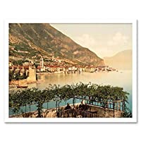 Vintage Travel Gargnano Lake Garda Italy Art Print Framed Poster Wall Decor 12X16 Inch ビンテージ旅行湖イタリアポスター壁デコ