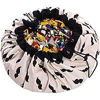 Tutent お片付けマット 玩具/レゴ/ブロックのお片づけ おもちゃ収納袋&プレイマット 直径140cm 綿(口ひげ)