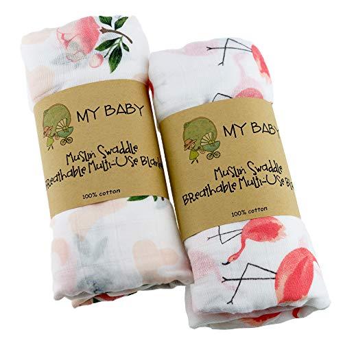 おくるみ ベビーブランケット 2枚セット スワドル ガーゼ改良 120x120cm モスリンコットン 授乳ケープ プレイマットガーゼタオル 赤ちゃん 新生児 出産祝いにおすすめ 保温 吸水 速乾 フラミンゴ ローズ ピンク Ciilee Baby