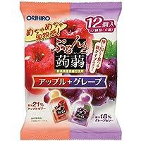 オリヒロプランデュ ぷるんと蒟蒻ゼリーパウチ アップル+グレープ 20gx12個
