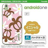 X1 スマホケース androidone ケース アンドロイドワン イニシャル ホヌ ティアレ ピンク nk-x1-1080ini H