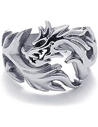 PW 高品質チタン&ステンレス 竜指輪リンク 21440 シルバー(銀色) 【ラッピング対応】