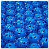 ゴルフ 練習 用 穴あき 軽量 プラクティス ボール ピーボール ホローボール 50個 セット 選べる カラー 室内 屋内 室外 お庭 で (ブルー)