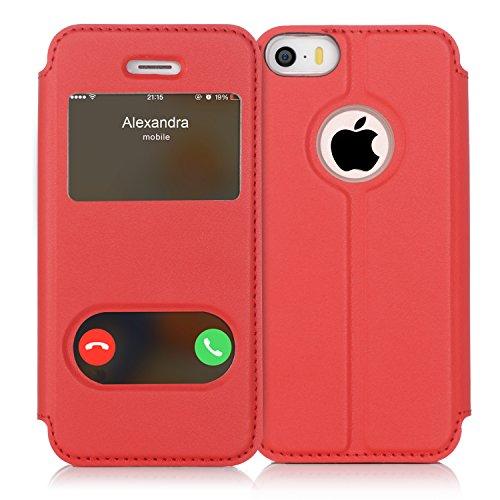 iPhone5S ケース iPhone SE ケース iPhone5 ケース,FyyR ハンドメイド 良質PUレザーケース 軽量 超薄型 横開き 手帳型 窓付き ダブルウィンドウ 横置きスタンド機能付き マグネット式 スマートケース レッド