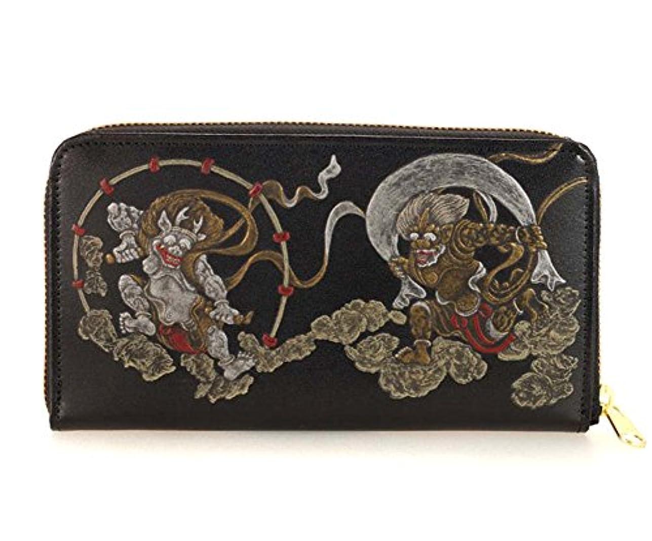 そうでなければ火森林和柄財布(わがらさいふ) 牛革 製 風神、雷神、(浮き押し) 小銭 入れ 付き ラウンドファスナー 財布 ブラック tk-002-01b