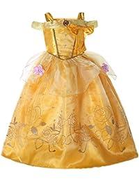 Pettigirl子供プリンセスドレス イエロードレス コスチューム ハロウィン パーティードレス 130