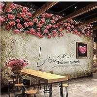 Jason Ming カスタム写真の壁紙レトロローズ壁画レストランカフェ寝室の背景壁の装飾壁画壁紙3 D-120X100Cm
