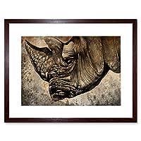 Painting Drawing Sketch Animal Rhino Head Horn Framed Wall Art Print ペインティング図スケッチ動物壁