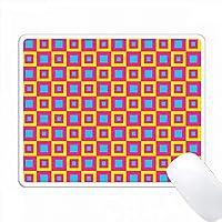 ピンク、ライトブルー、イエローの四角形のレトロ四角形 PC Mouse Pad パソコン マウスパッド