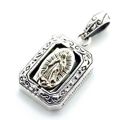 [해외][실버 원] bi 925 금색 과달 루페의 성모 마리아 스퀘어 상자 골드 펜던트 목걸이 남성/[Silver one] bi 925 golden Guadalupe Virgin Mary Square Box Gold pendant top necklace Men