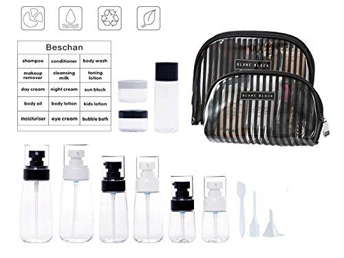GUIQI 小分け用ボトルセット 霧吹き スプレーボトルと詰め替え容器 液漏れ防止 海外 温泉 袋が2個付き FDA認証 15点(透明無色)