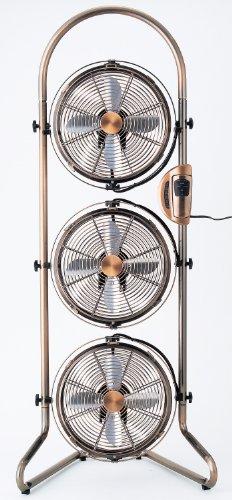 RoomClip商品情報 - Pieria(ピエリア) 3連タワー型メタルBOX扇風機 ブロンズ リモコン式 風量2段階切替 アロマケース付き