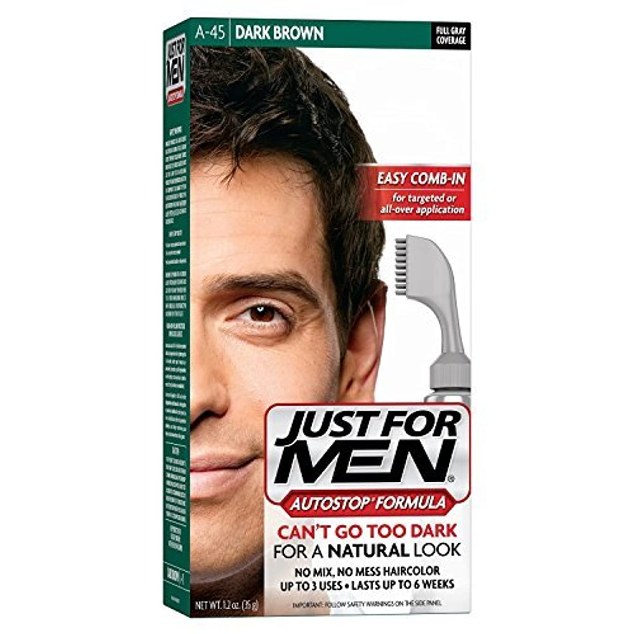 入植者可能性大事にするJust for Men -45ダークブラウンAUTOSTOP 1.2オンス 3パック