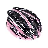 バイクのヘルメット,SODIAL(R)【頭周囲:54~64cm】 クールスタイル! 超軽量 大人用自転車ヘルメット サイズアジャスター付  蒸れ防止ベンチレーションホール18カ所配置 マウンテンバイク・通勤・通学に最適です! ブラック+ピンク