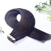 FidgetGear Remyの人間の毛髪延長7A 40cmの継ぎ目が無いPUの皮のよこ糸の方法16インチテープ #1Bネイチャーブラック